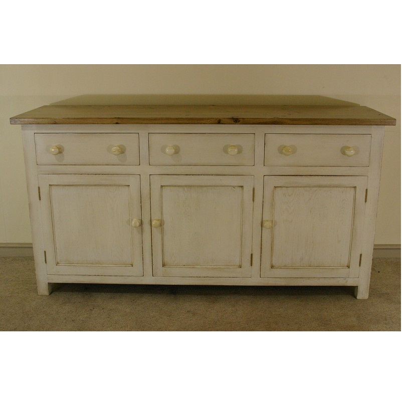 Painted Base With 3 Drawers, 3 Doors And Pippy Oak Top