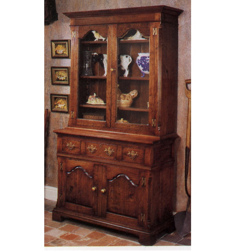 Traditional Classic Denbigh Cabinet Base With Glazed Bookcase Top