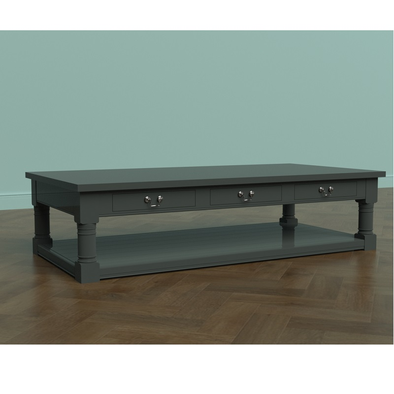 Indore Coffee Table With 6 Drawers: Painted 6 Drawer Potboard Coffee Table